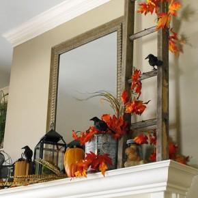 50 Awesome Halloween Decorating Ideas White Fireplace Orange Leaf Crow