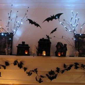 50 Awesome Halloween Decorating Ideas Fireplace With Dark Bats