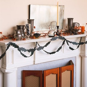 50 Awesome Halloween Decorating Ideas White Fireplace with Ribbon