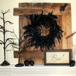 50 Awesome Halloween Decorating Ideas Fireplace Twig Black Fur