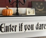 50 Awesome Halloween Decorating Ideas White Fireplace Small Pumpkins and Candle Decor