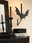 50 Awesome Halloween Decorating Ideas Fireplace with Dark Bats and Black Candle