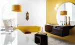 Amazing Bathroom Ideas Yellow And Brown Cabinet