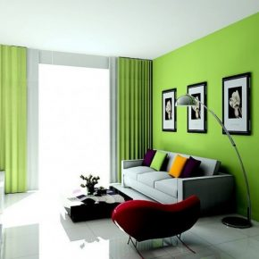 Colorful Lime Green Living Room With Black Frames Bizezz