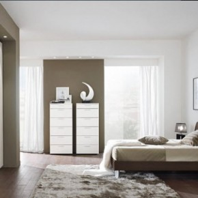 Bright Beautiful Modern Style Bedroom Designs White Grey Wall