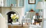 Design Interior French Country Bright Blue Striped And Blue Striped Chair