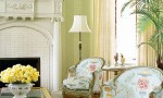 Design Interior French Country White Fire Place And Two Floral Chairs