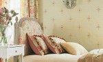 Design Interior French Country Retro White Wall And Floral Beds