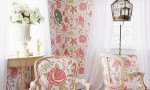 Design Interior French Country Pink Floral Wall Decor and Pink Floral Chair