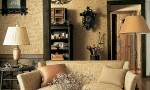 Design Interior French Country Elegant Brown Sofa Retro Wall