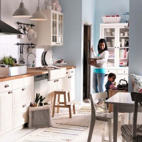 Kitchen Design Ideas 2012 by IKEA White and Bright Blue Wall
