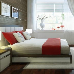 A Bedroom With A Feature Wall1  Warm and Cozy Rooms Rendered By Yim Lee Photo  6