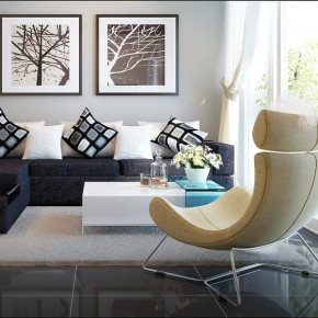 A Dark Brown Couch Vs. Yellowish Chair1  Warm and Cozy Rooms Rendered By Yim Lee  Picture  2