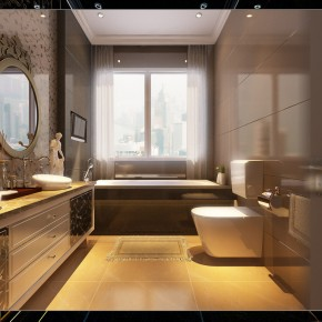 Bathroom With Wonderful Tiling1  Warm and Cozy Rooms Rendered By Yim Lee Photo  11