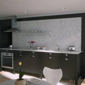 Black Kitchen Marble Splash Back 665x498  Rendered Minimalist Spaces by Rafael Reis Photo  12