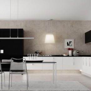 Black White Kitchen Diner 665x405  Rendered Minimalist Spaces by Rafael Reis  Image  11