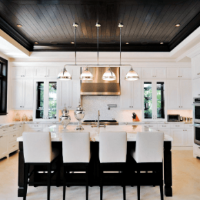 Incroyable Black And Wood Planks Ceiling Interior Kitchen Design Ideas Nextluxury.com