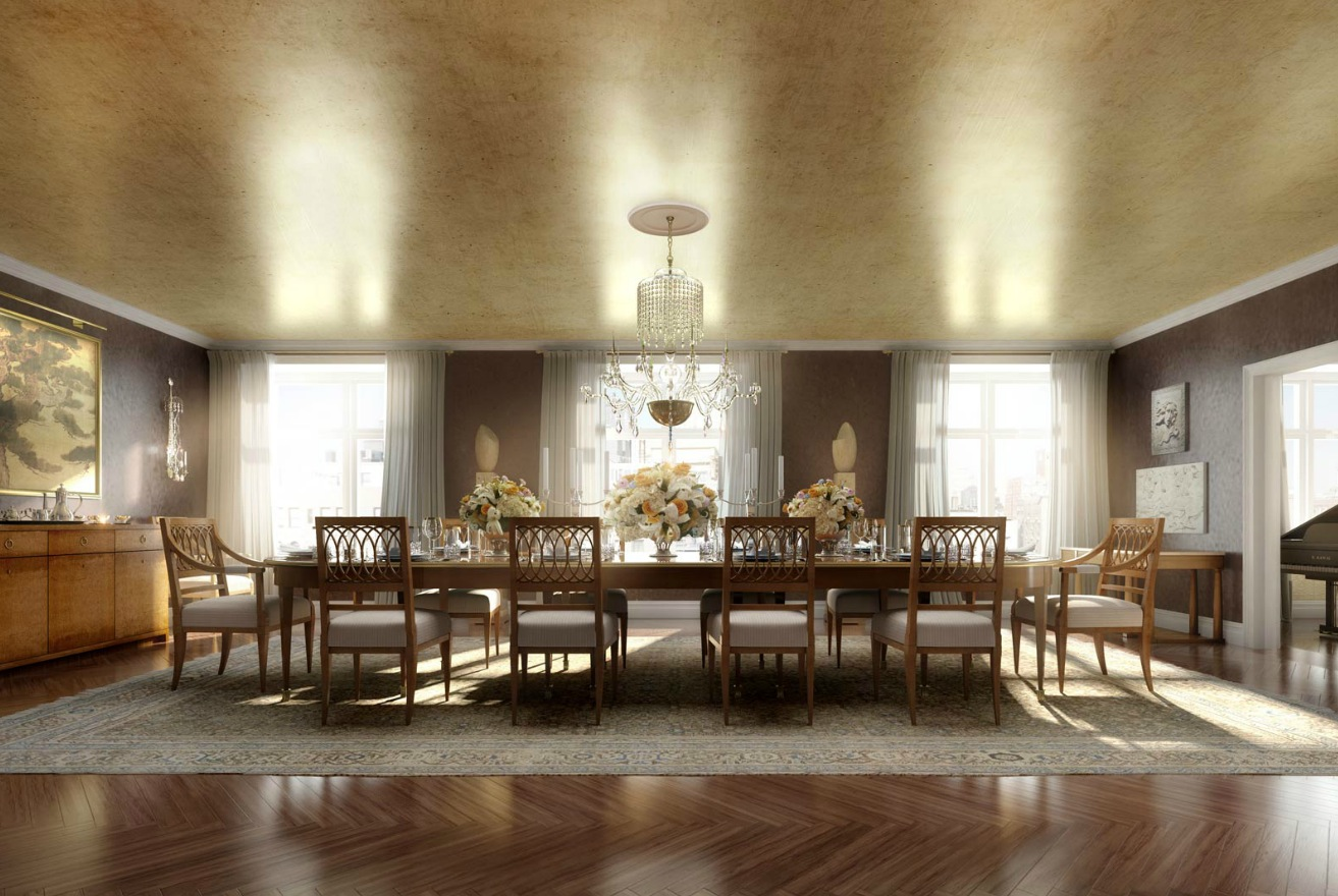 Home Spa Design Ideas: Classic Luxury Dining Room Architectural Renderings By