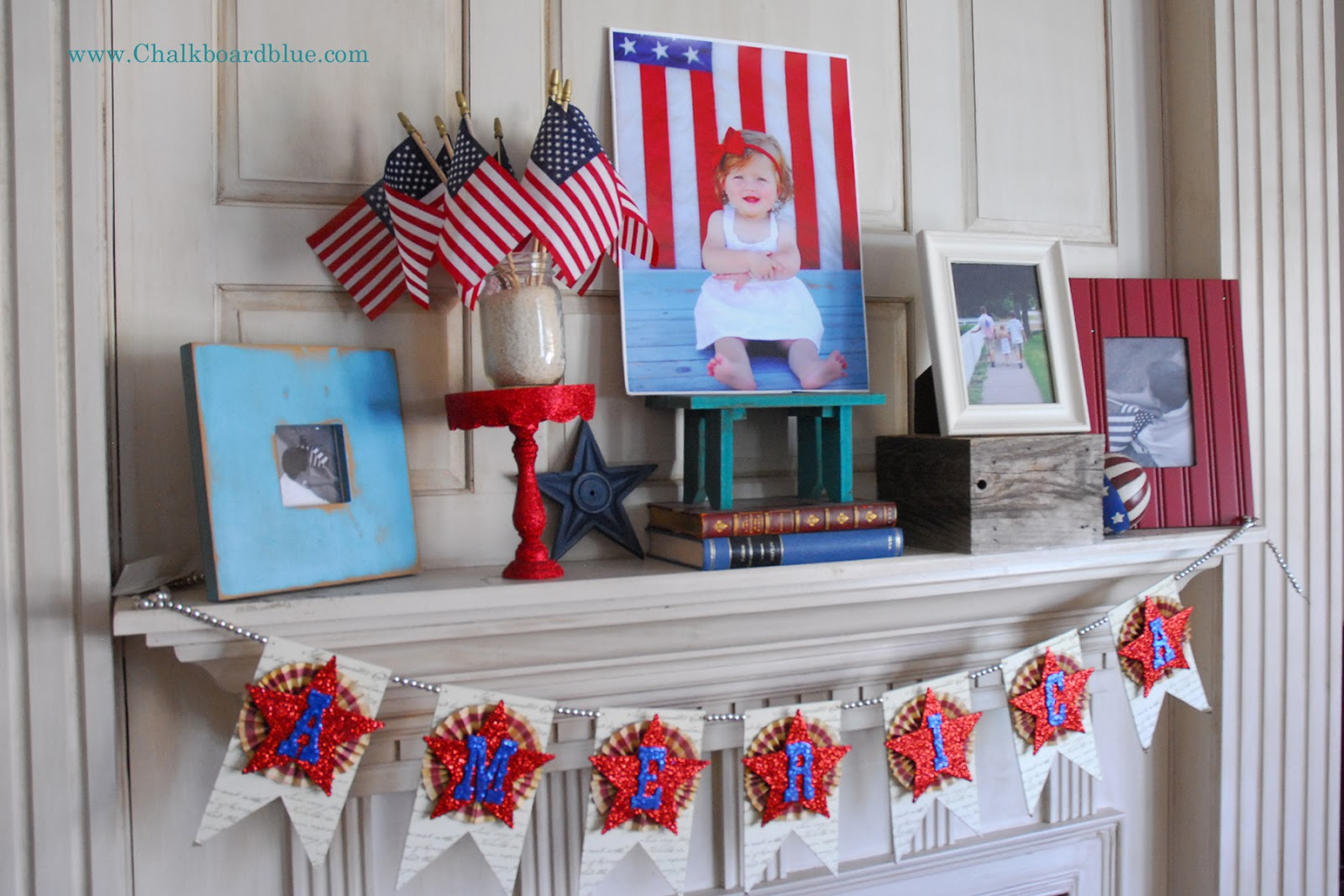 20 Red White and Blue Fireplace Mantels