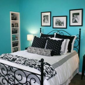 Enchanting Black And White Bedroom Decor With Colorful Wall Redchilena.com