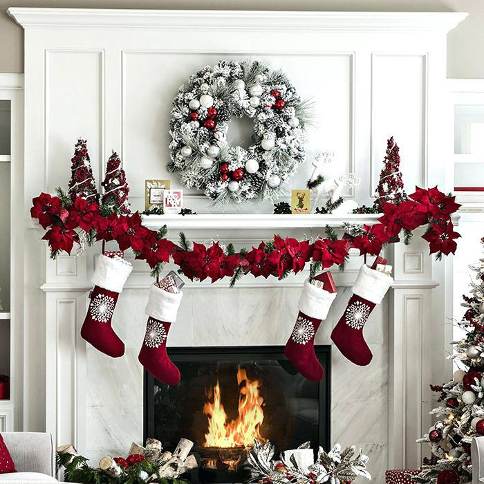 Fireplace Christmas Decorations.Fireplace Christmas Decorations Large White Fireplace