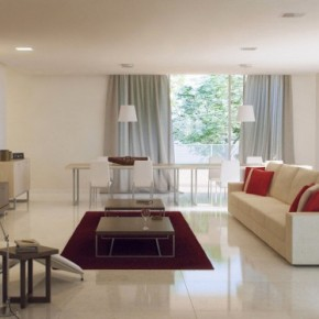 Grey White Red Living Room 665x374  Rendered Minimalist Spaces by Rafael Reis  Image  9