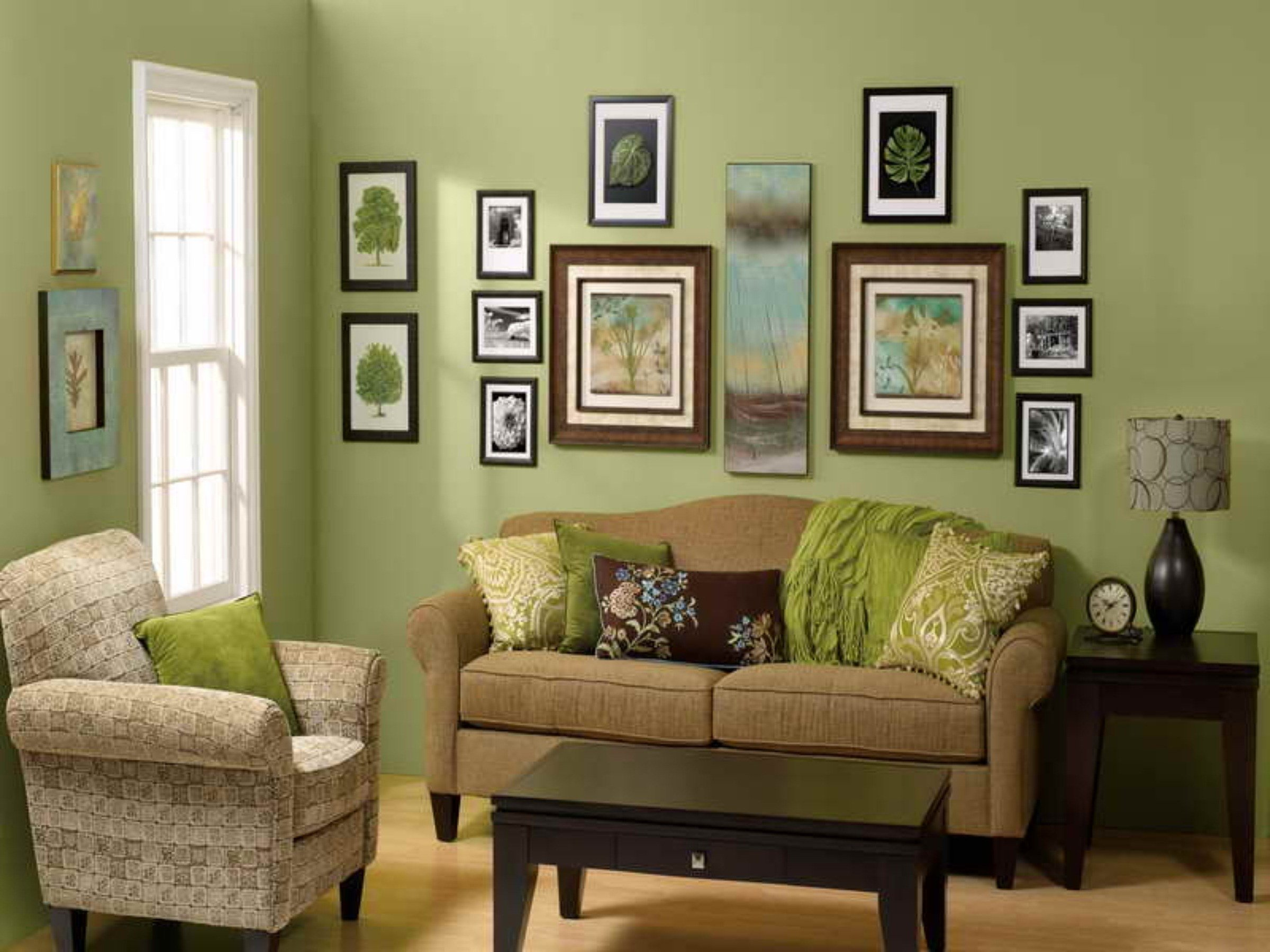 Home Decoration Green Wall Paint White Curtain Dining Table Chairs Affordable Living Room Furniture Amazing Decorating Ideas With Brown Colored Sofas