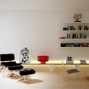 Living Space Reading Area 665x372  Rendered Minimalist Spaces by Rafael Reis  Wallpaper 3