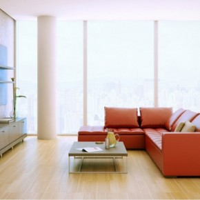 Red Sofa Wood Entertainment Unit 665x386  Rendered Minimalist Spaces by Rafael Reis  Wallpaper 6