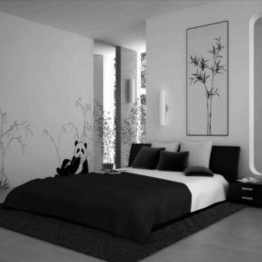Captivating Black And White Bedroom Idea With Wall Decal Bobayule